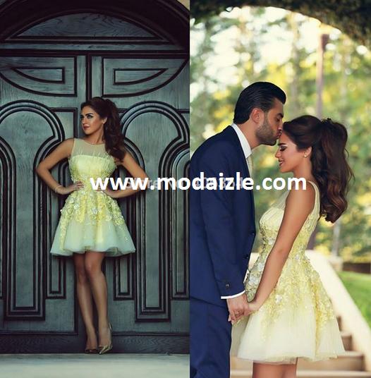 açık sarı vestido tül kısa mini nişan davet kokteyl elbise modelleri 2015