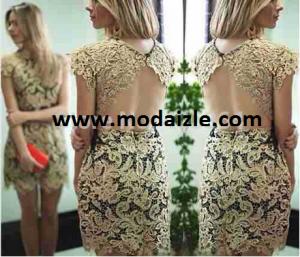 komple dantelli kısa kollu karpuz mini elbise modeli