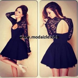 siyah mini ısa parti balo uzun kollu antelli elbise